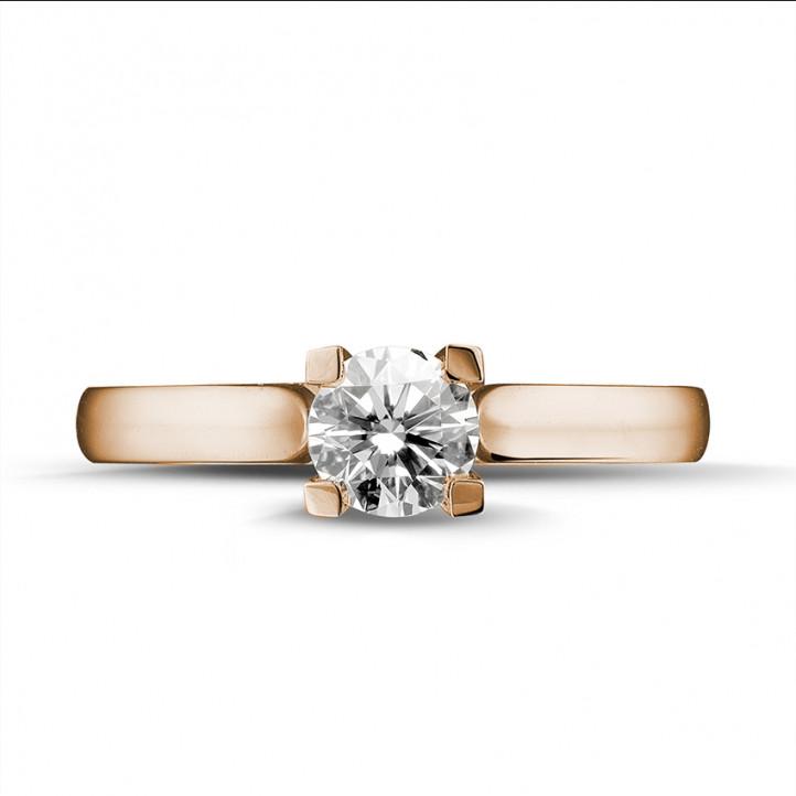0.50 caraat diamanten solitaire ring in rood goud