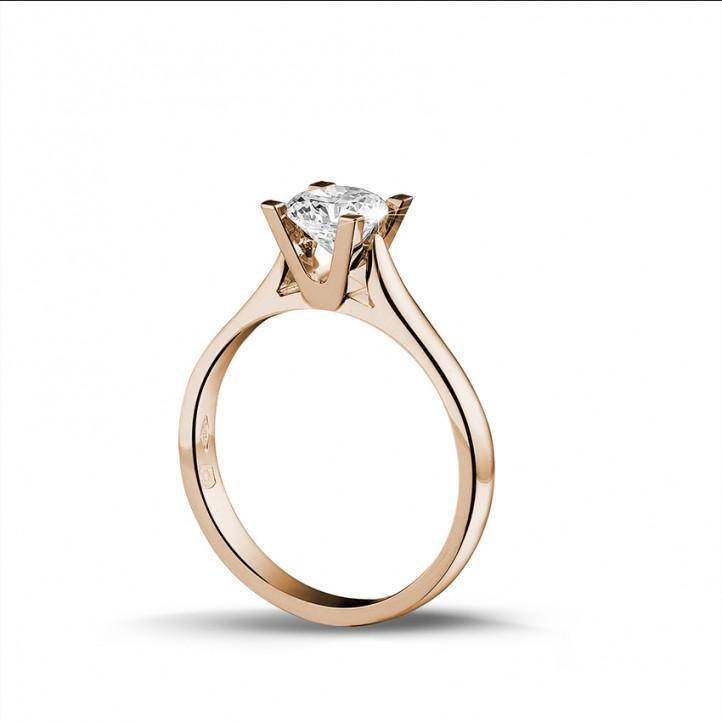 0.70 karaat diamanten solitaire ring in rood goud