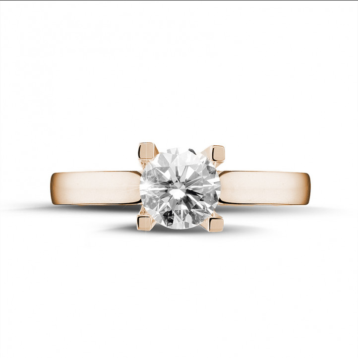 0.70 karaat diamanten solitaire ring in rood goud