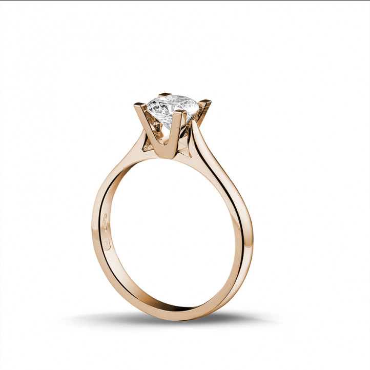 0.75 karaat diamanten solitaire ring in rood goud