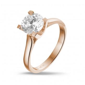 1.50 karaat diamanten solitaire ring in rood goud