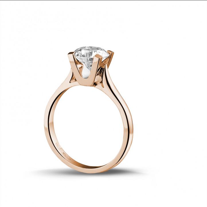 1.50 caraat diamanten solitaire ring in rood goud