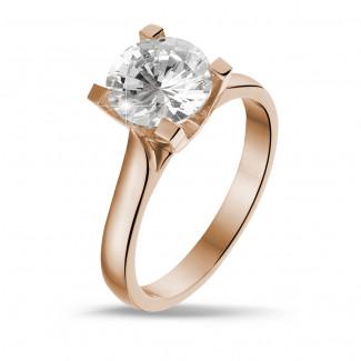 - 2.00 karaat diamanten solitaire ring in rood goud