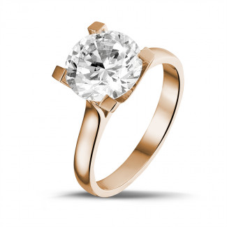 Verloving - 3.00 karaat diamanten solitaire ring in rood goud