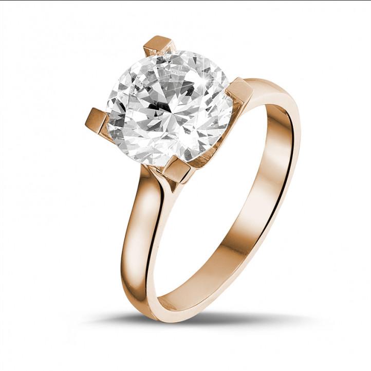 3.00 caraat diamanten solitaire ring in rood goud