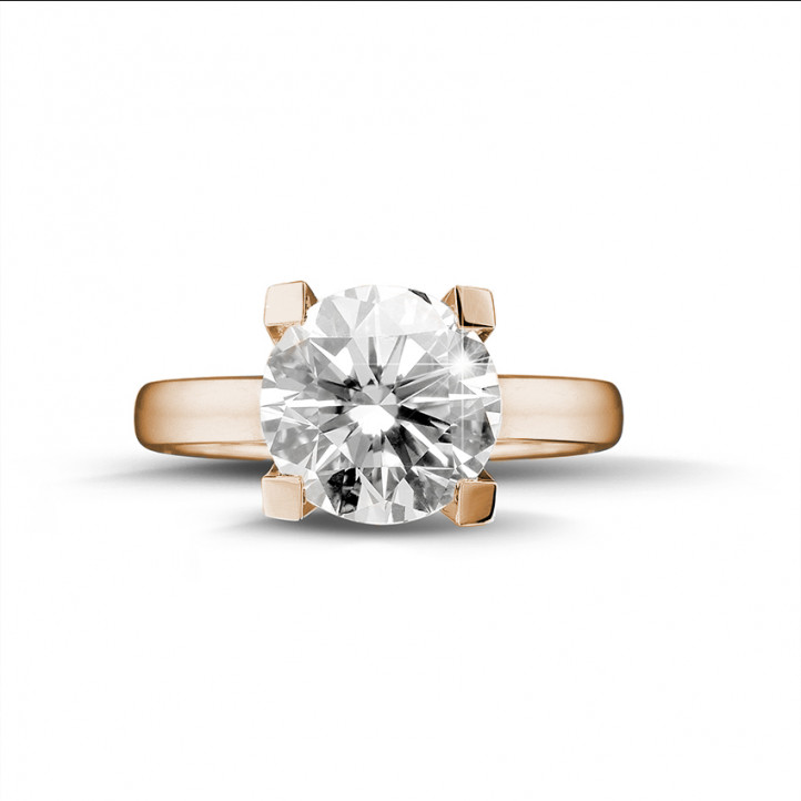 3.00 karaat diamanten solitaire ring in rood goud