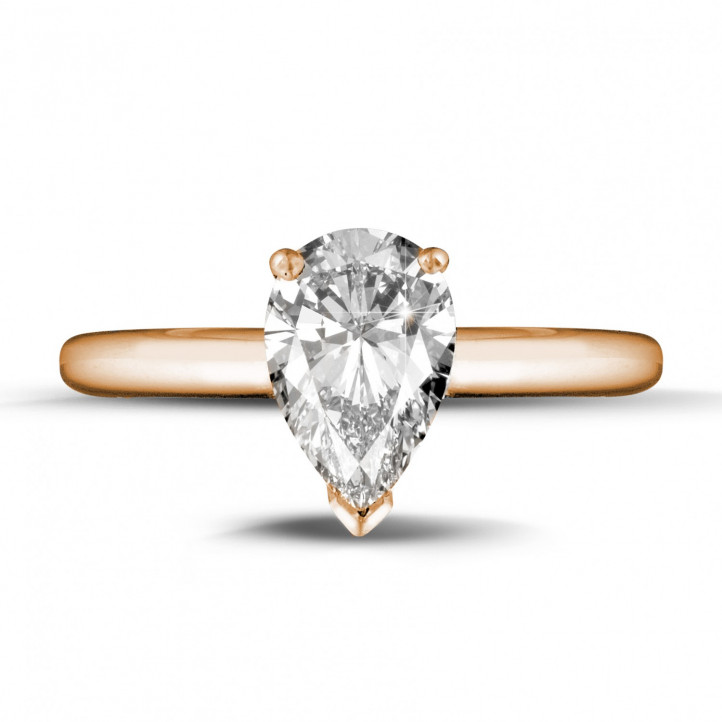 1.50 karaat solitaire ring in rood goud met peervormige diamant