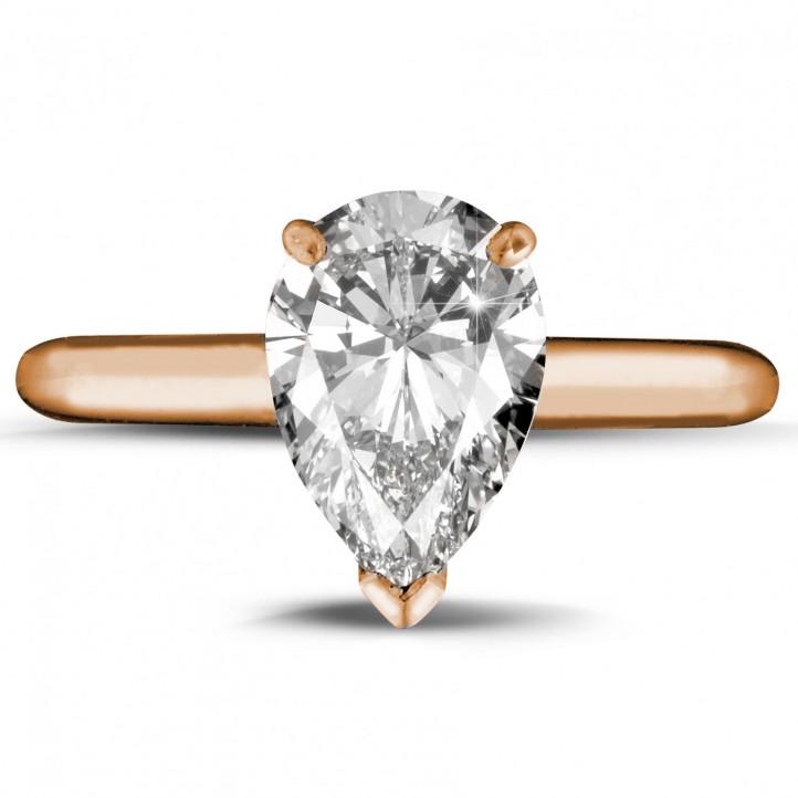 2.00 karaat solitaire ring in rood goud met peervormige diamant