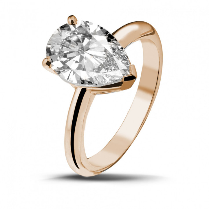3.00 caraat solitaire ring in rood goud met peervormige diamant