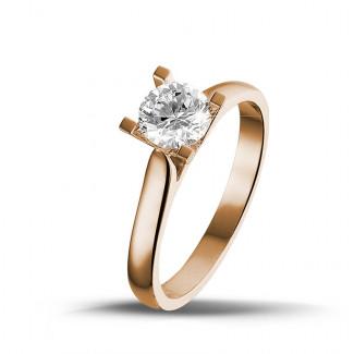 - 0.75 karaat diamanten solitaire ring in rood goud