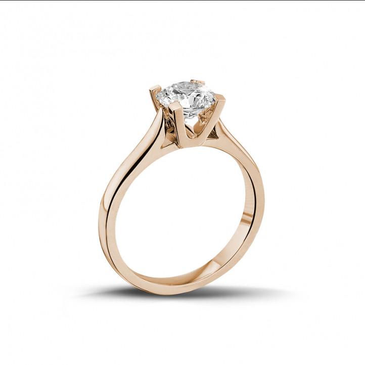 0.90 caraat diamanten solitaire ring in rood goud