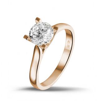 - 1.25 karaat diamanten solitaire ring in rood goud