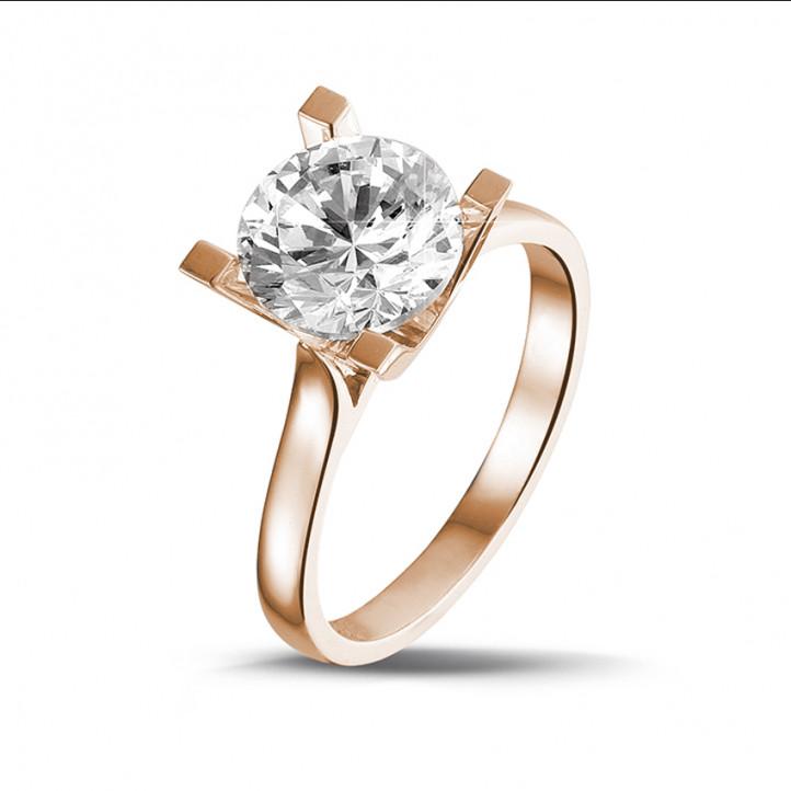 2.50 caraat diamanten solitaire ring in rood goud