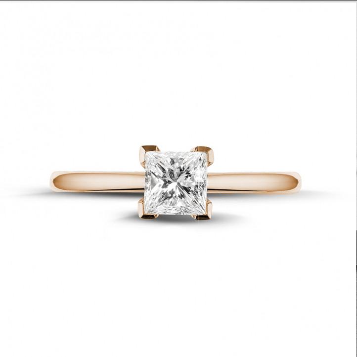0.75 karaat solitaire ring in rood goud met princess diamant