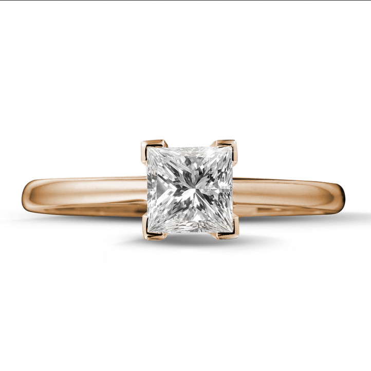 1.00 karaat solitaire ring in rood goud met princess diamant