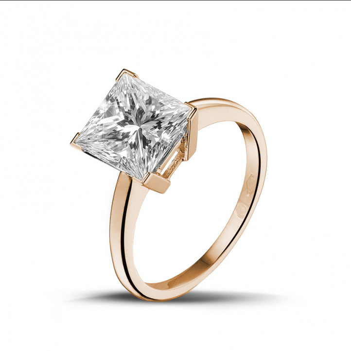 3.00 karaat solitaire ring in rood goud met princess diamant