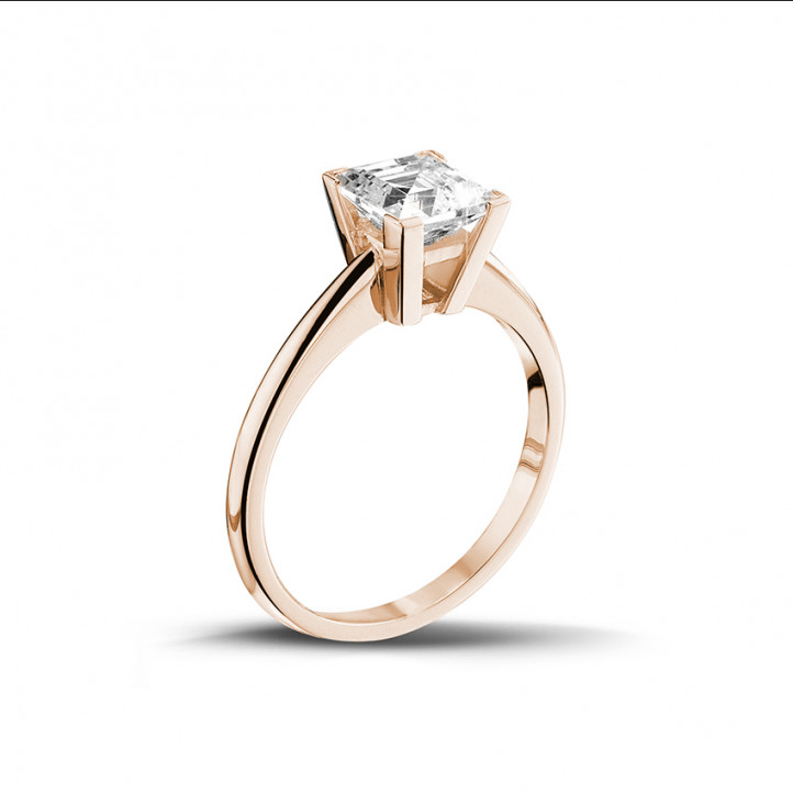 2.00 karaat solitaire ring in rood goud met princess diamant