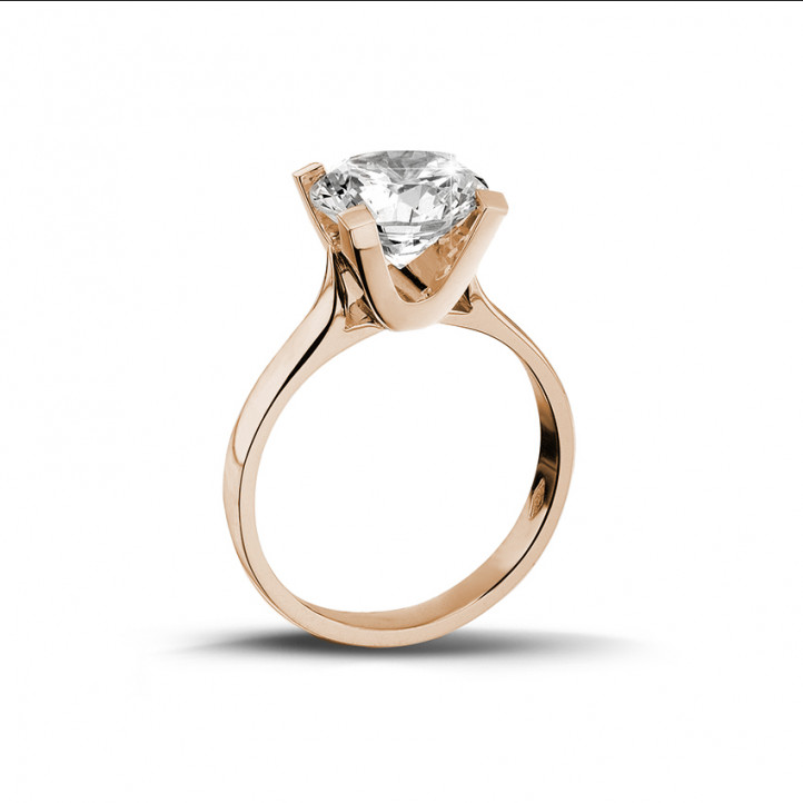 2.00 karaat diamanten solitaire ring in rood goud