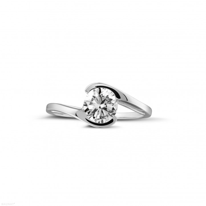 0.70 caraat diamanten solitaire ring in wit goud
