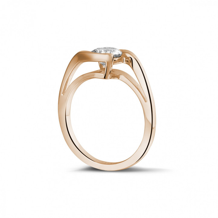 1.00 caraat diamanten solitaire ring in rood goud