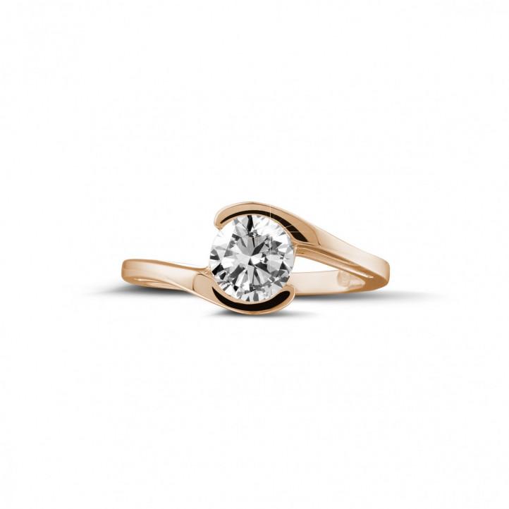 1.00 karaat diamanten solitaire ring in rood goud
