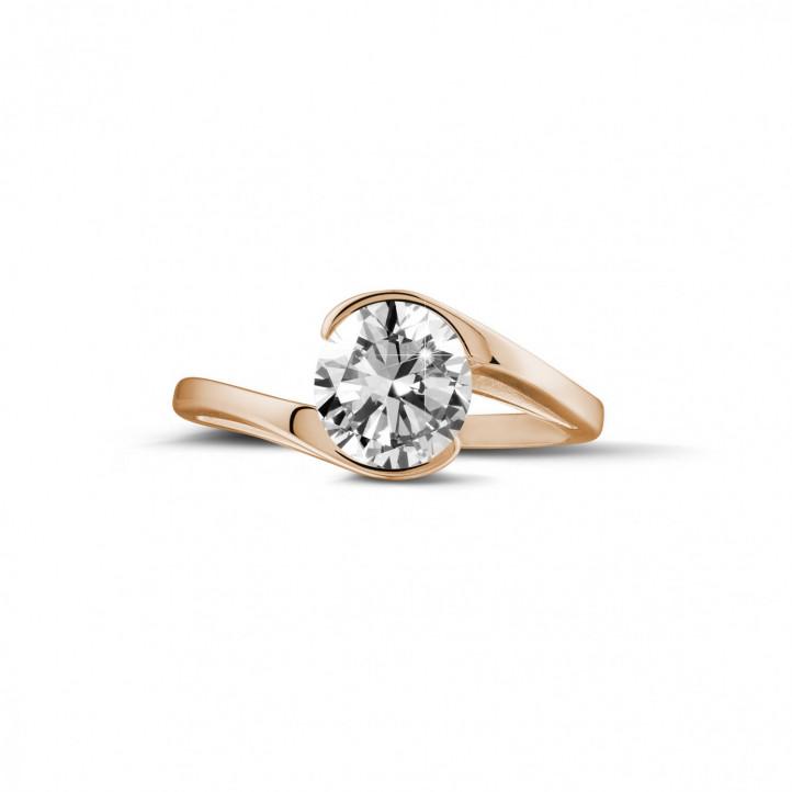 1.25 caraat diamanten solitaire ring in rood goud