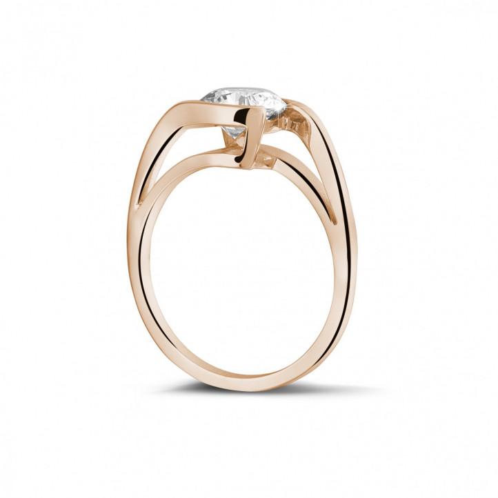 1.25 karaat diamanten solitaire ring in rood goud