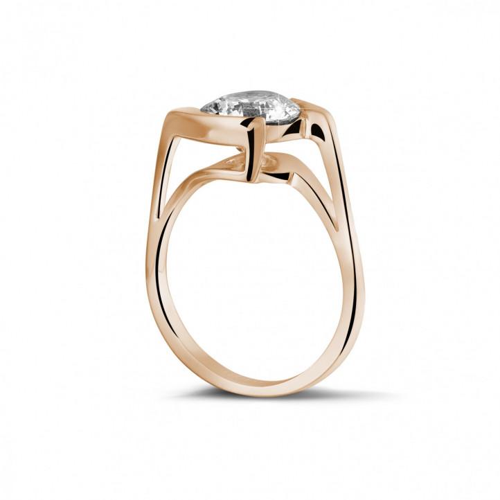 2.00 caraat diamanten solitaire ring in rood goud
