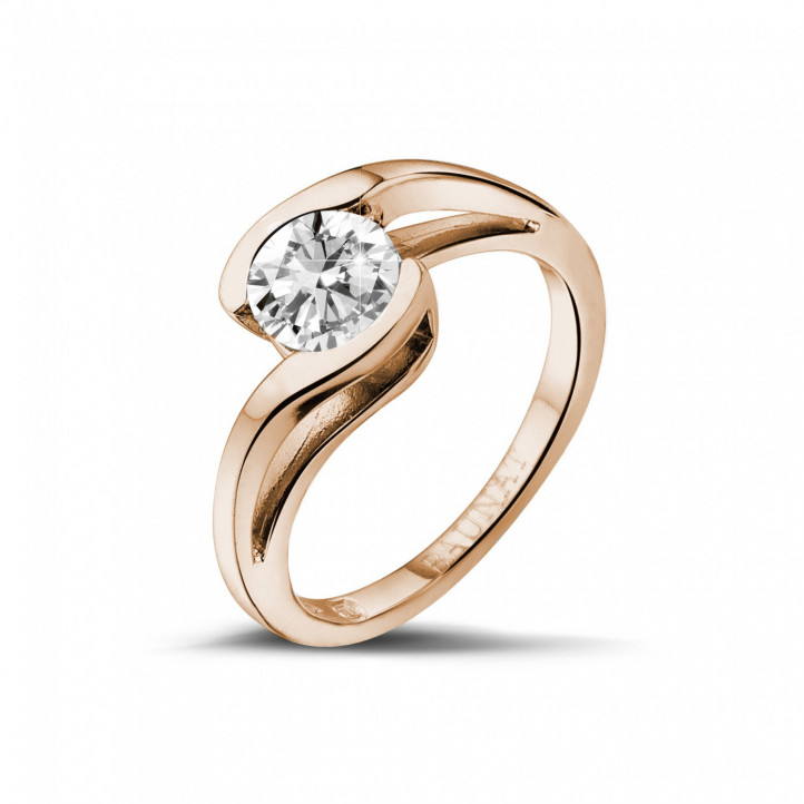 1.00 karaat diamanten solitaire ring in rood goud