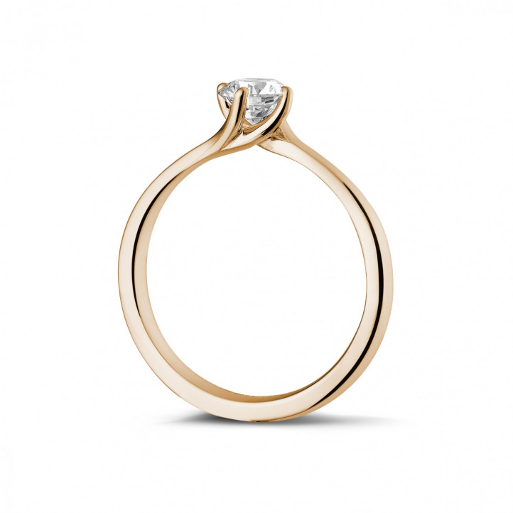 0.50 caraat diamanten solitaire ring in rood goud