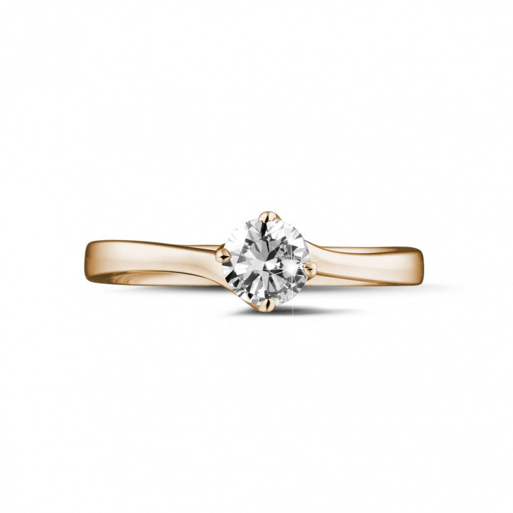 0.50 karaat diamanten solitaire ring in rood goud