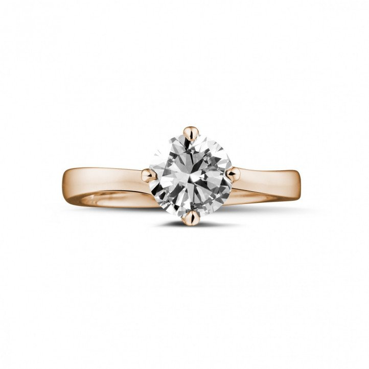 1.25 karaat diamanten solitaire ring in rood goud