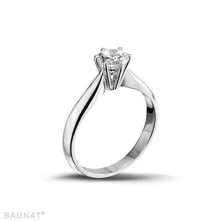 0.75 karaat diamanten solitaire ring in wit goud
