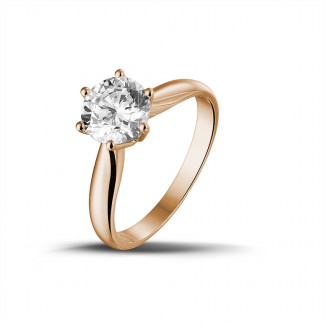 1.50 caraat diamanten solitaire ring in rood goud