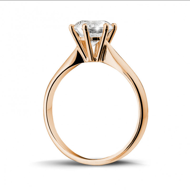 1.50 karaat diamanten solitaire ring in rood goud