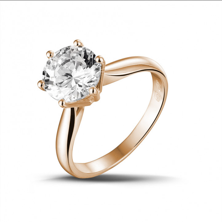 2.50 caraat diamanten solitaire ring in rood goud