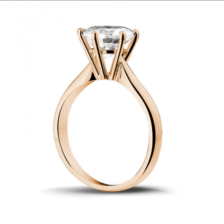2.50 karaat diamanten solitaire ring in rood goud