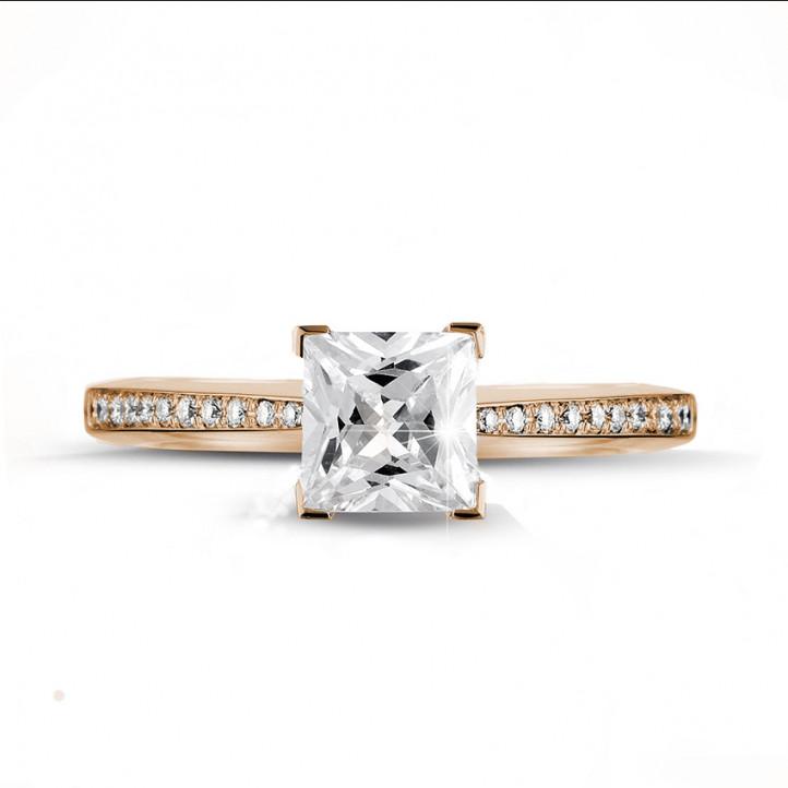 2.00 caraat solitaire ring in rood goud met princess diamant en zijdiamanten