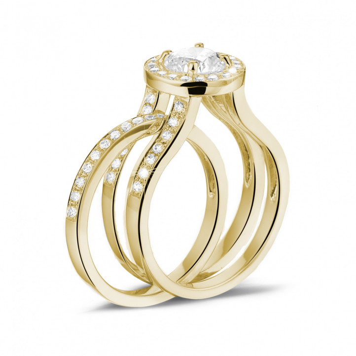 1.00 caraat diamanten solitaire ring in geel goud met zijdiamanten