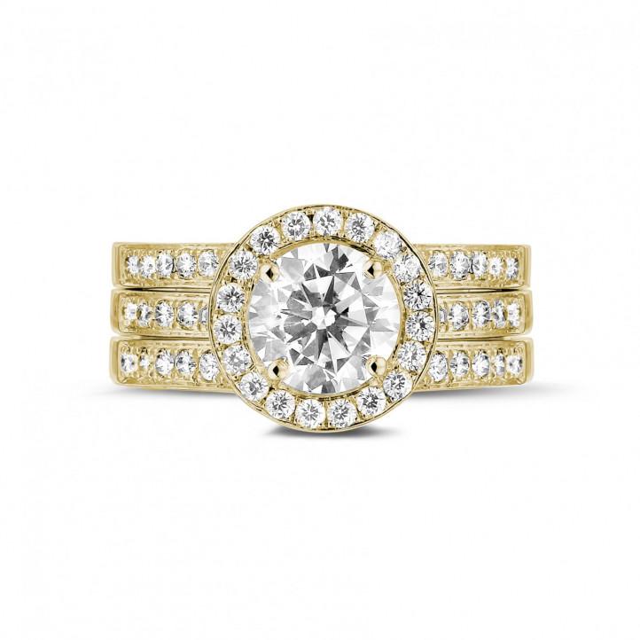 1.20 caraat diamanten solitaire ring in geel goud met zijdiamanten