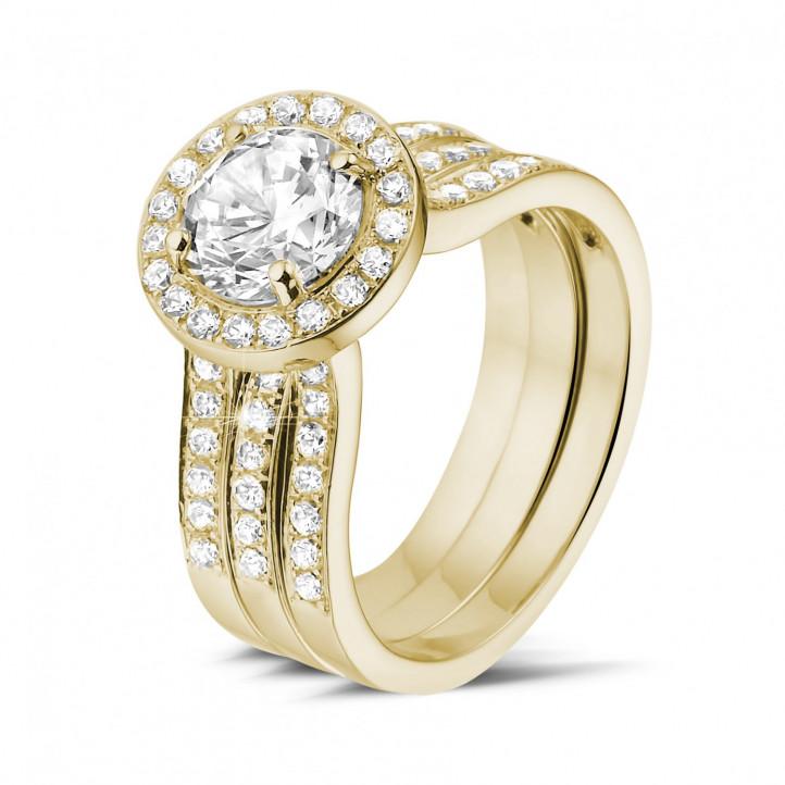 1.20 karaat diamanten solitaire ring in geel goud met zijdiamanten