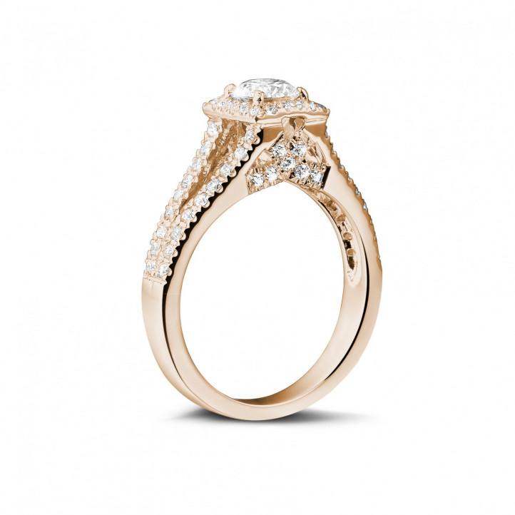 0.50 karaat diamanten solitaire ring in rood goud met zijdiamanten