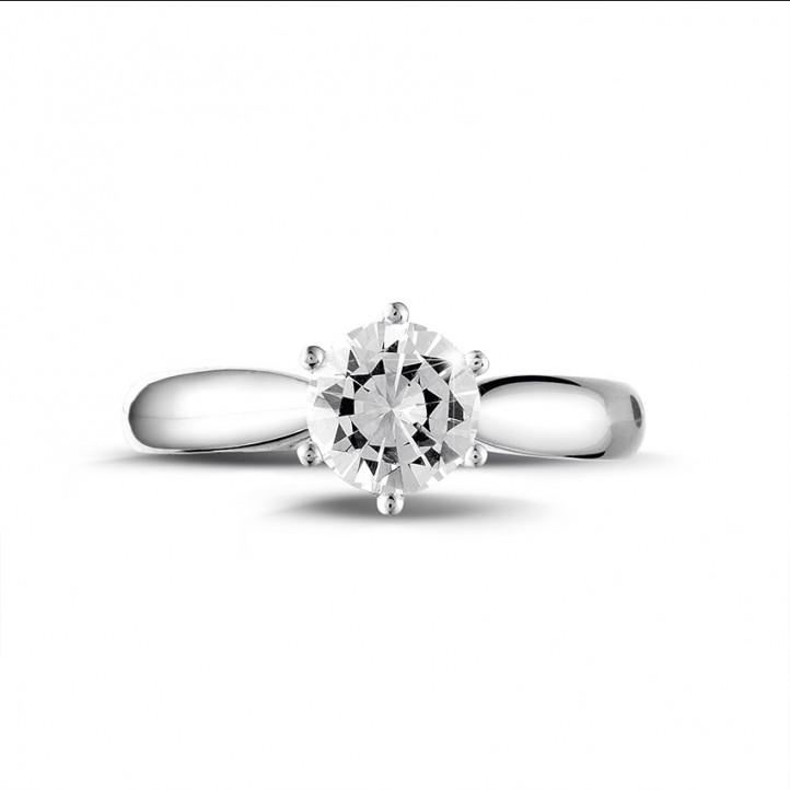 1.00 karaat diamanten solitaire ring in platina