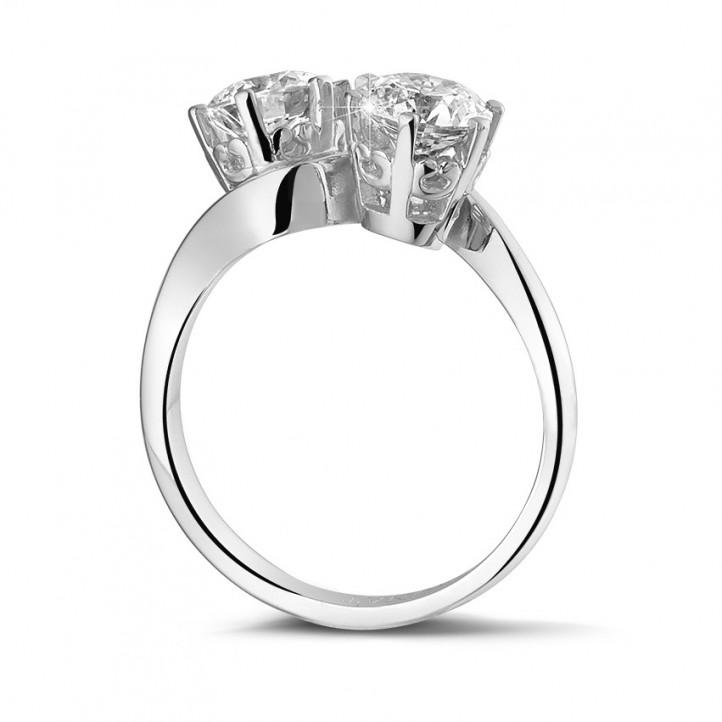 1.50 karaat diamanten Toi et Moi ring in platina