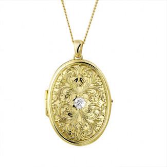 Halskettingen - 0.40 karaat diamanten design médaillon in geel goud