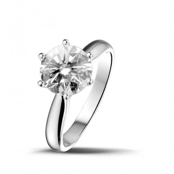 2.00 karaat diamanten solitaire ring in platina