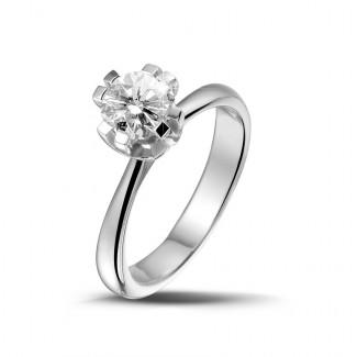 Jafo - 0.90 karaat diamanten solitaire design ring in platina met acht griffen