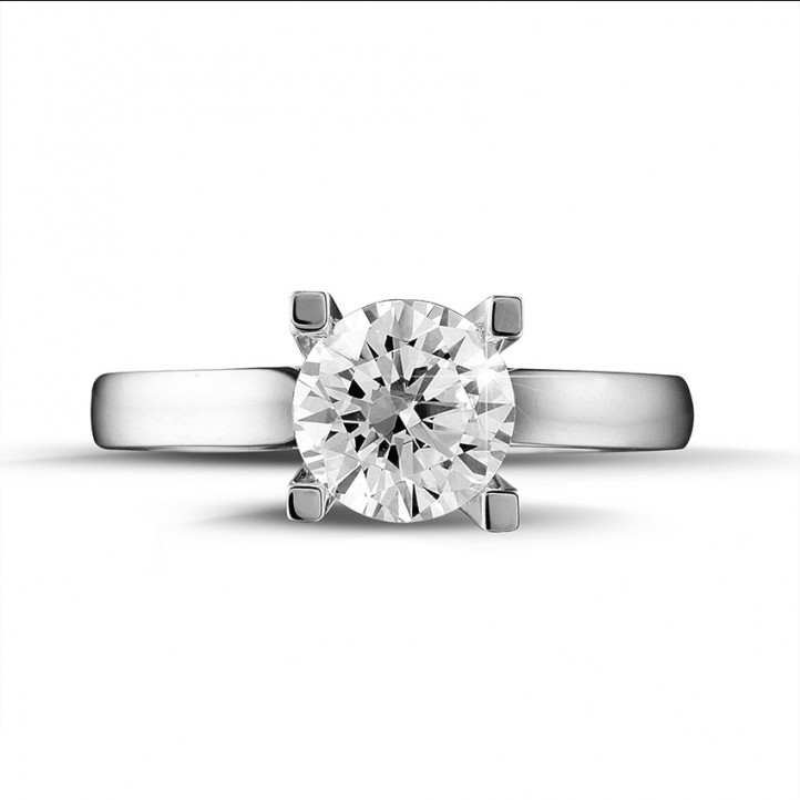 1.25 karaat diamanten solitaire ring in platina