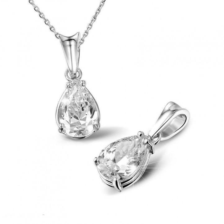 1.25 karaat solitaire hanger in platina met peervormige diamant