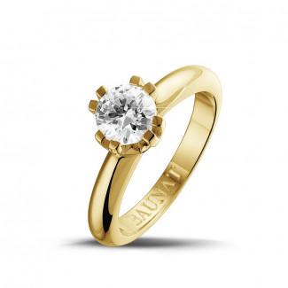 Jafo - 0.90 karaat diamanten solitaire design ring in geel goud met acht griffen